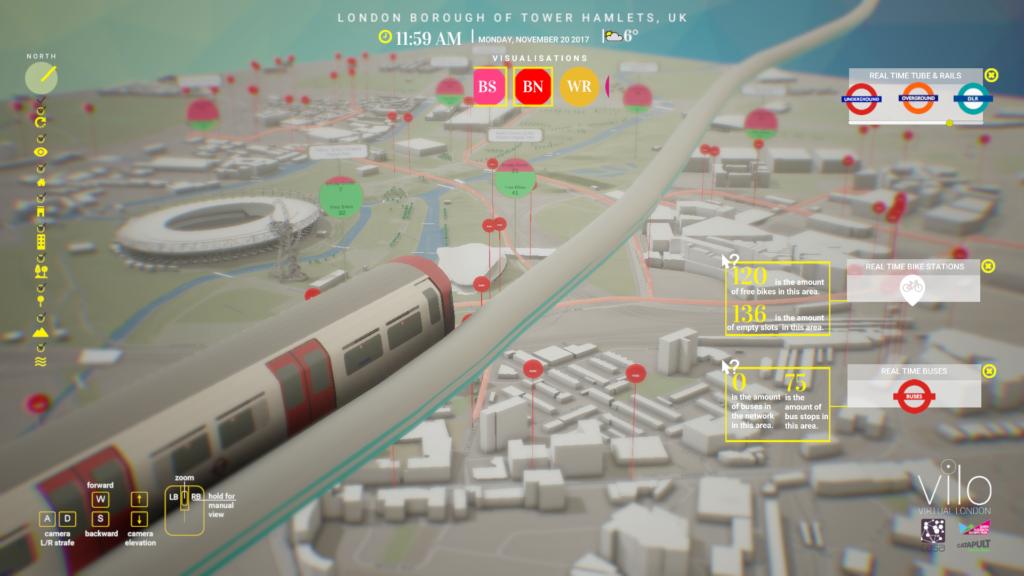 Virtual London model in QEOP showing live sensor and API data