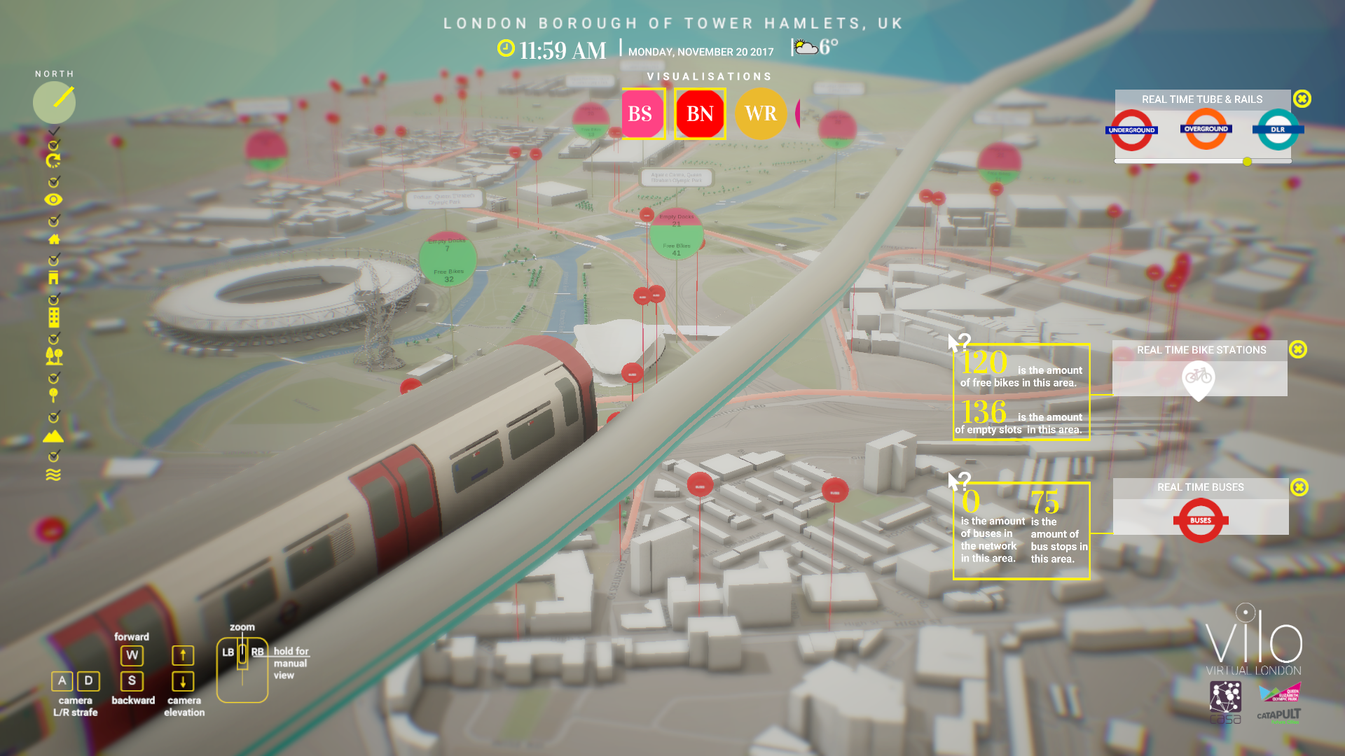 Virtual London model in QEOP showing live sensor and API data